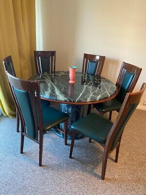 Used Green Italian Marble Round Dining Table Set, 6 Leather Chairs No Couriers • 895£