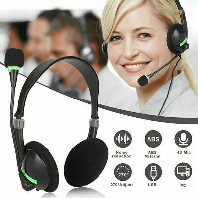 USB Headset Headphones Wired With Microphone MIC For Call PC Computer Laptops • 7.99£