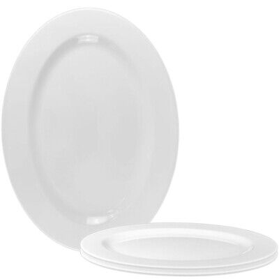 £16.95 • Buy Melamine Oval Coupe Plates In White Platter Dish 16inch (Set Of 3)