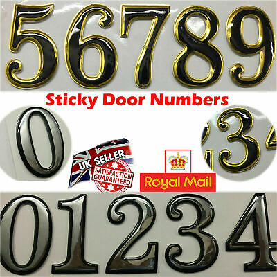 £1.95 • Buy Self Adhesive Door Numbers Chrome Finish 2  Number Letter House Apartment UK