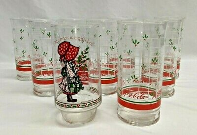 $ CDN68.53 • Buy Vintage Christmas Coca-Cola Glasses Lot Of 9 Total 1 Holly Hobbie And 8 Stripped