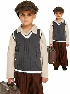Kids Evacuee School Boy Costume Childrens WW2 Historical War Outfit - Age 7-9 • 8.50£