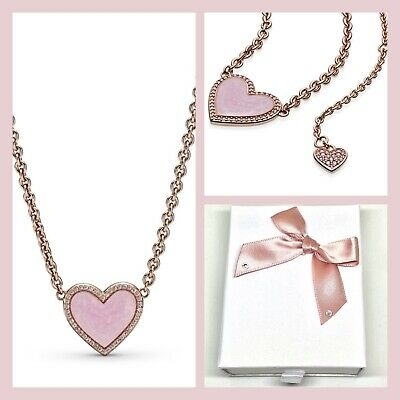 💎🎀 STERLING SILVER 925 ROSE GOLD Pl PINK SWIRL HEART COLLIER NECKLACE GIFT BOX • 39.99£
