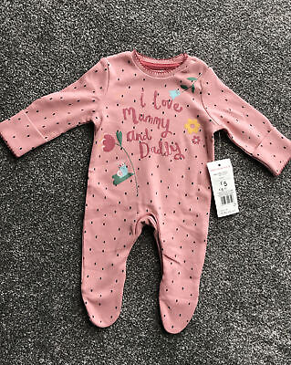 F&F Newborn I Love My Mummy And Daddy Pink Sleepsuit With Mittens New With Tags • 3.50£