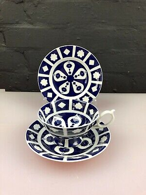 Royal Crown Derby Unfinished Imari 1128 Blue White Tea Trio Cup Saucer Plate Set • 19.99£