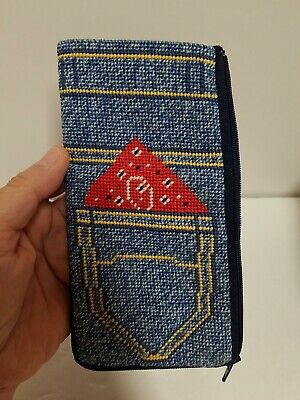$ CDN20.05 • Buy 1984 Alice Peterson Stitch & Zip Finished Completed Eye Glass Case Denim Pocket