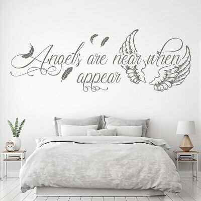 £11.98 • Buy Angels Are Near Feather Quote Wall Sticker WS-57658