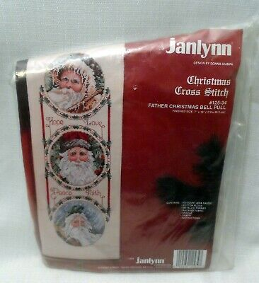 Janlynn Father Christmas Bell Pull Cross Stitch Kit NIP With Turned Wood Hangers • 15.70£