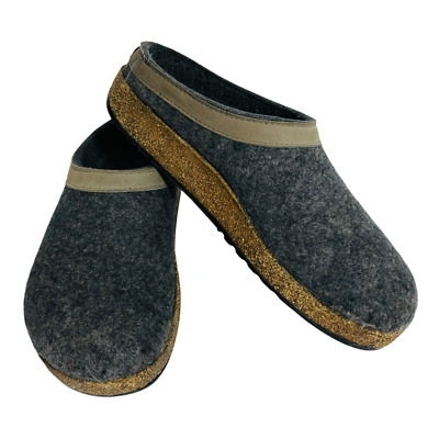 Haflinger Men's 42 Size 10 Grizzly Torben Charcoal Gray Felt Wool Clogs Slippers • 51.70£