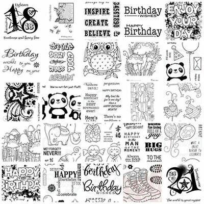 Woodware Clear Stamps - Happy Birthday Sentiments Sayings Verses Occasions Male • 4£