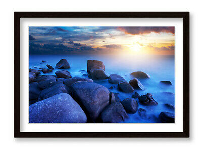 £21.99 • Buy Rocky Sunset Beach Misty Seascape Framed Wall Artwork Picture Poster Print