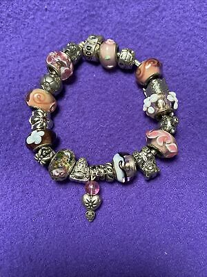 AU175 • Buy Genuine Pandora  Solid Silver  Bracelet With  19 Charms  .925 Stamped 19 Cms