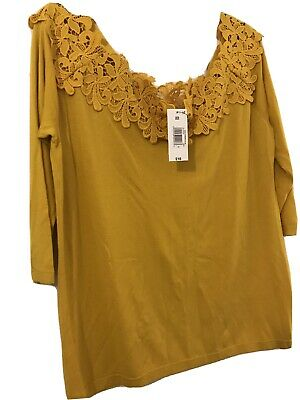 Ladies Fashion Jumper , Mustard Colour Size 22 Off The Shoulder With Straps, • 8£