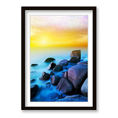 £39.99 • Buy Yellow Sunset Beach Rocks Framed Wall Artwork Print Poster Picture