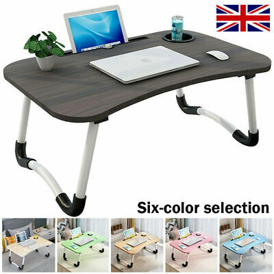 Folding Laptop Bed Tray Table Portable Lap Desk Notebook Breakfast With Cup Slot • 14.99£