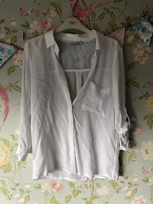 AU14.76 • Buy Pull And Bear White Blouse - Size Small