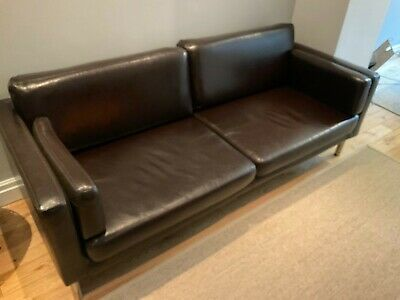 Ikea Sater Faux Leather Brown Sofa • 75£