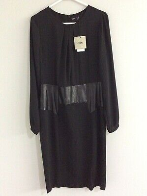 AU31 • Buy ASOS Black Chiffon And Patent Leather Long Sleeved Dress Sz 16 Ladies NWTS