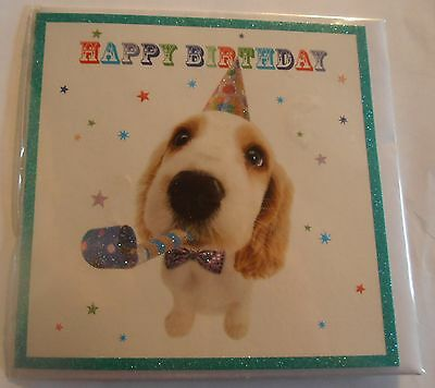 £1.99 • Buy Party Pup Cute Cocker Spaniel Puppy Dog In Party Hat Birthday Card Glitter