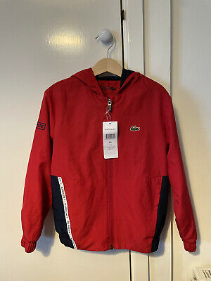 Age 8 Years New Boys Lacoste Tracksuit Top Hoodie Jacket Red Navy • 25£