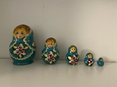 Russian Dolls Set Of 5 – Blue – Excellent Condition • 11.50£