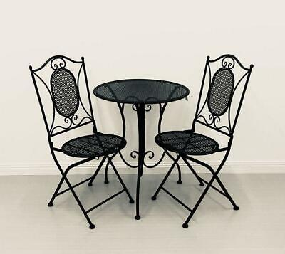 AU299.95 • Buy 3 Piece Garden Bistro Setting Patio Alfresco Outdoor Furniture, Black