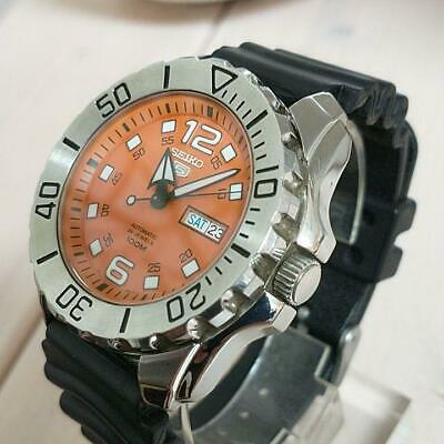 $ CDN669.21 • Buy Seiko 5 Day Date 24 Jewels Orange Monster Automatic Mens Watch Auth Works