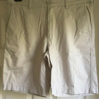 "ATLANTIC BAY ORIGINAL CHINO SUMMER FESTIVAL SHORTS SIZE 32"" 81Cm  ZIP FLY BEIGE • 3.49£"
