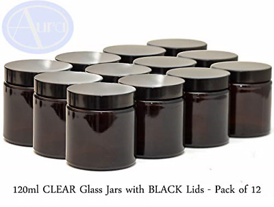 Aura 120ml AMBER GLASS Jars With BLACK Lids - PACK Of 12 • 28.40£