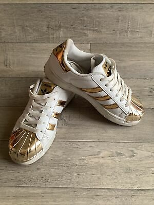 AU10.70 • Buy Adidas Superstar, White And Gold, Leather Trainers. Size 4
