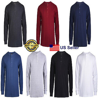 $16.95 • Buy New Mens Thermal Henley Shirt T-shirts Long Sleeve Cotton Pullover Comfy Button