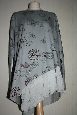 MADE IN ITALY Fab Arty Oversize 14-16-18 Cotton Lagenlook Tunic Quirky Print • 6.50£