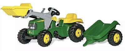 £109.95 • Buy RollyKid John Deere Ride On Pedal Tractor + Front Loader + Kid Trailer - Rolly
