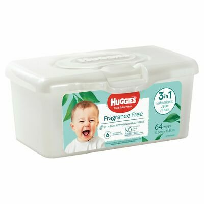 AU5.49 • Buy Huggies Baby Wipes - Fragrance Free - With Storage Tub - 64 Pack