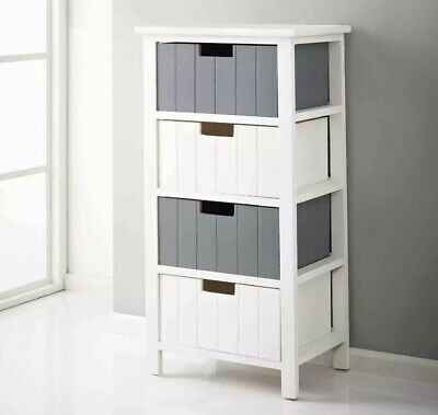 Nautical Escape Chest Of 4 Drawers Living Bedroom Bathroom Furniture White Grey • 64.99£