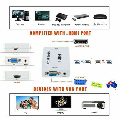 AU9.99 • Buy VGA To HDMI Female To Female Video Adapter Cable Converter With Audio HD1080P AU