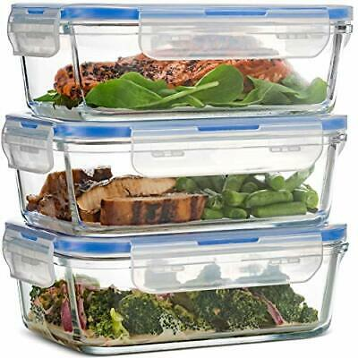 £25.99 • Buy Airtight Glass Food Containers With Lids - 3-Pack, 100% Leak Proof BPA Free