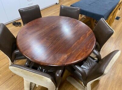 AU900 • Buy RARE Post & Rail Dining Table & Chairs - 6 Seater