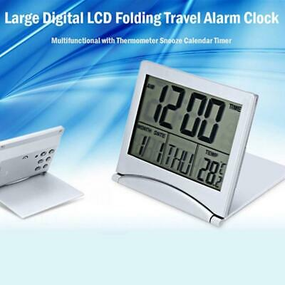 AU15.46 • Buy LCD Digital Foldable Desk Alarm Clock With Thermometer Date Calendar Timer Clock
