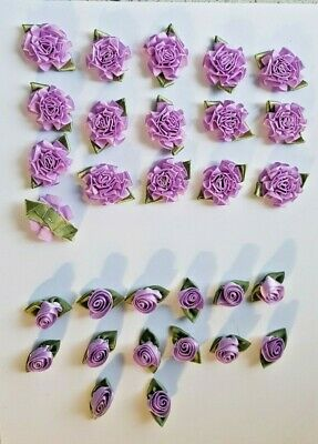 Lot Of 16 Lilac Satin Roses And 14 Rosebuds For Crafts • 4£
