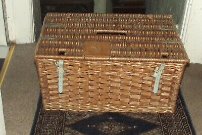 Large Vintage Wicker Basket Laundry Basket  Toys  Log Storage With Lid 22  X 15  • 30£