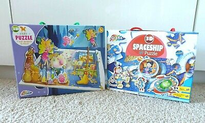 3D Children's Jigsaw Puzzle Fairy Or Spaceship 45pcs In Each In Carry Case Gift • 5.89£