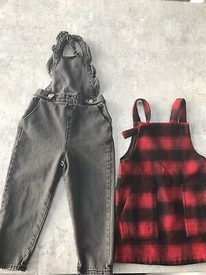 Zara Grey Denim Dungarees Age 2-3 And Next Checked Pinafore Dress Age 3 Years. • 2.99£