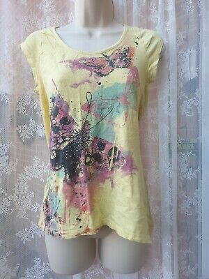 Ladies Papaya Matalan T-Shirt Top Size 10 Yellow  • 1.99£
