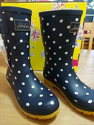 £48 • Buy Joules Mid Hight Wellies 202845 Molly Welly Spotty Navy Size Uk6 Eu39