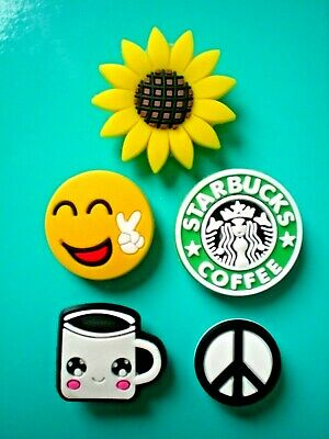 £7.78 • Buy Coffee Peace Shoe Charm Button Plug Pin Compatible W/Crocs Shoes For Wristband