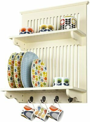 Aston Buttermilk Kitchen Plate Rack, Wooden And Wall Mounted. Solid Top Shelf By • 68.82£