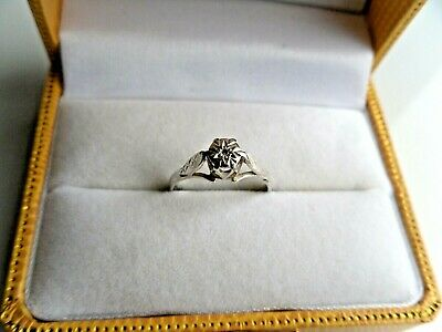 Ladies Solid Sterling Silver 925 Ring Size J With 1 X Tiny Sparkler • 18.95£
