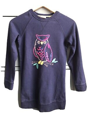 Girls Mini Boden Navy Jumper Dress With Owl Motif Age 9-10 Years • 4.50£