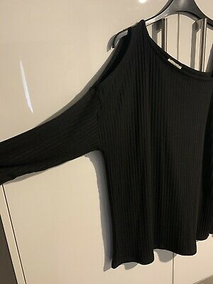 Ladies Black Top Size 12 Cold Shoulder Strap Top Papaya Matalan • 3.50£